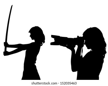 woman silhouette with camera and sword