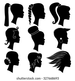 Woman Silhouette With Hair Styling Hand Drawn