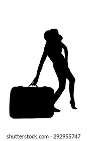 woman silhouette - holding a luggage