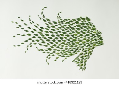 Woman silhouette made of green leaves. Flat lay. Nature concept.