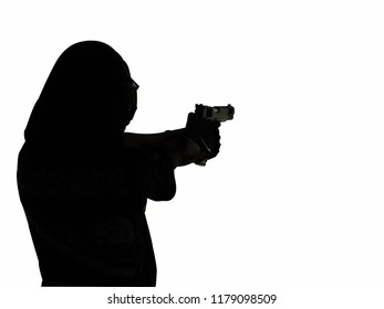 The woman silhouette shooting gun isolated on white background with clipping path.