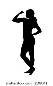Woman silhouetted in a gymnastic / dancing pose with clipping path