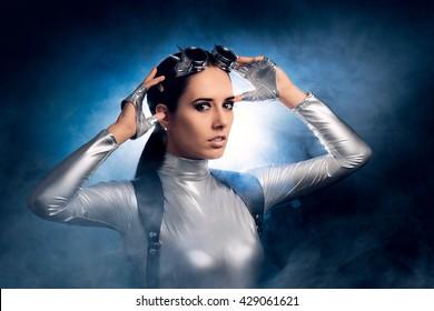 Woman in Silver Costume and Steampunk Glasses - Portrait of sci-fi retro futuristic girl