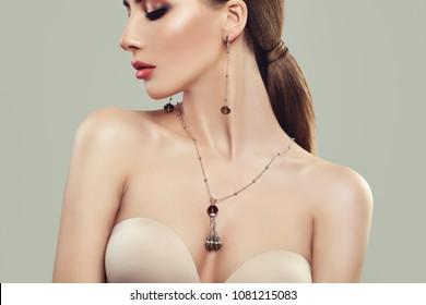 Woman with Silver Jewelry Closeup Portrait