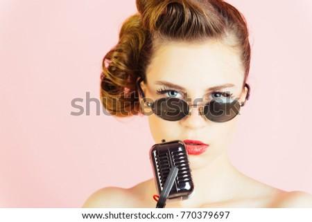 Woman Singer Stylish Retro Hair Makeup Stock Photo Edit Now