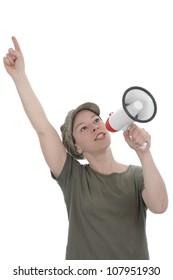 Woman singing in a megaphone