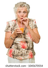 Woman Sipping Juice Through Straw Isolated On white Background