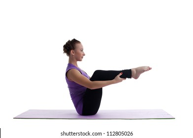 woman sit in yoga asana on rubber mat isolated