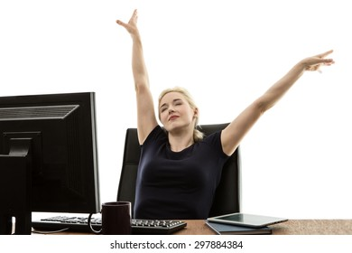 woman siting at her desk resting in her chair