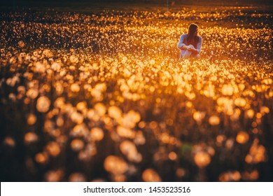 Woman sitting alone in spring dandelions meadow, warm sunrise light in background