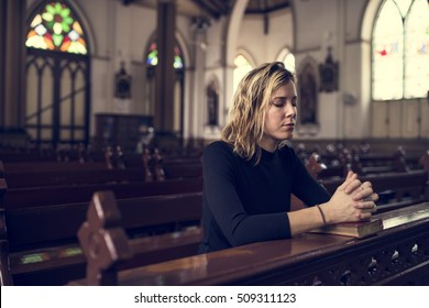 Woman Sitting Church Religion Concept