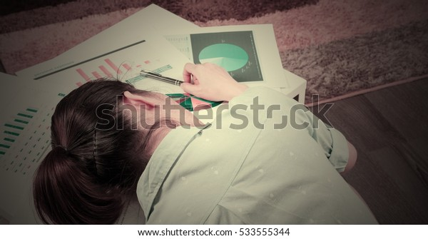 Woman sitting documents headache,vintage style