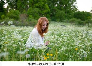 Woman sitting in flowerfield Sweden