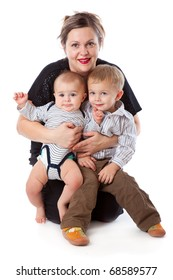 a woman is sitting with her children. isolated on a white background