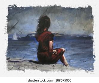 Woman sitting on beach torn edges