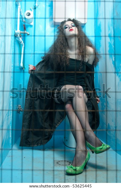 Woman Sitting On Toilet Bowl Neglected Stock Photo (Edit