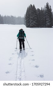A woman ski touring in Colorado's beautiful backcountry on a cold and snowy winter day