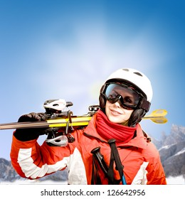 A woman skiing in the Alps, outdoor shoot.
