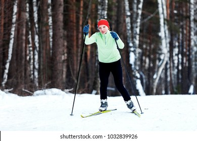 Woman skiing in cross country