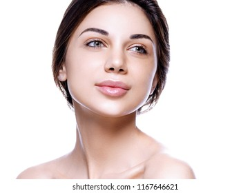 Woman skin natural makeup beautiful lips and eyes isolated on white