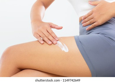 woman skincare body with cream
