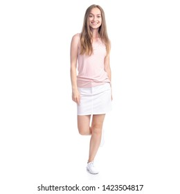 Woman in skirt goes walking smiling happiness on white background isolation