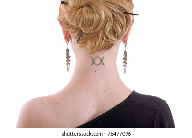 woman with slavonic moon rune tattoo on neck