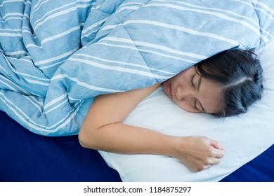woman sleeping on bed, feel sick, lady ill, girl pain