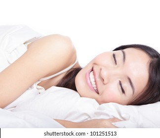 Woman sleeping on the bed in the morning isolated on white background , model is a asian beauty