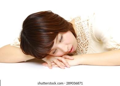 Woman Sleeping on the Table