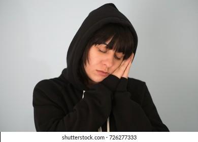 woman is sleeping standing up