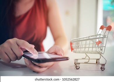 Woman and Small shopping cart with Laptop for Internet online shopping concept