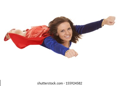 a woman with a smile on her face flying in the air.