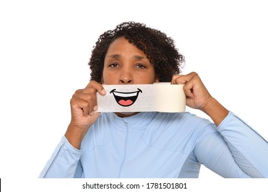 Woman Smile Tape looking at camera white background