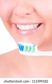 Woman smile. Teeth whitening. Dental care. closeup, isolates on white background