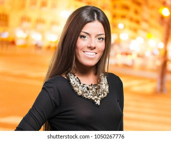 Woman With Smiling Expression, outdoor