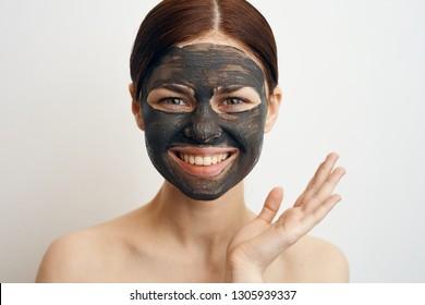 woman smiling facial skin care portrait