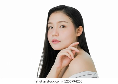 woman is smiling skin beauty and health, for spa products and make up. The skin is smooth and beautiful. concept of healthy women.