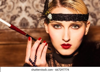 woman Smoking, holding a cigarette holder, retro style 1920s, beauty, makeup and hairstyle vintage interior