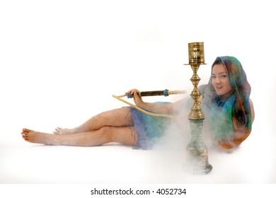 woman smoking water pipe