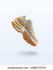 Woman Sneaker on light grey background, woman fashion, sport shoe concept, floating idea, Nike air max 95, product photography, adidas, puma, veya, new balance, Asics