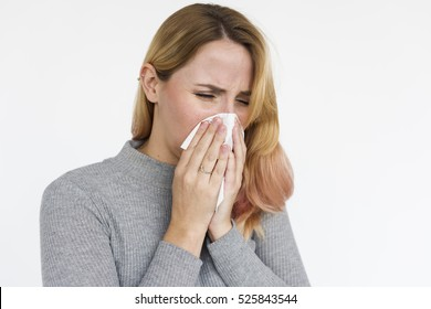 Woman Sneeze Allergy Napkin Concept