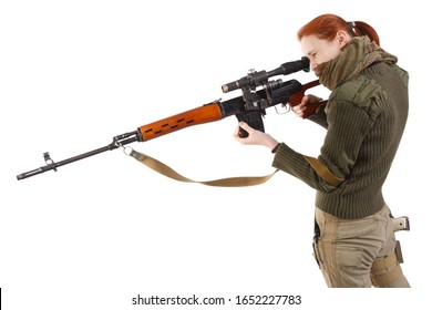 woman sniper with SVD sniper rifle isolated on white background