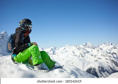 woman snowboarder, Alps Mountains,