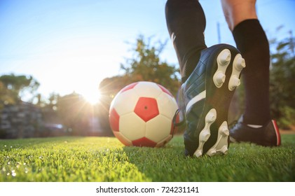 Woman soccer, football concept. Soccer ball on the grass