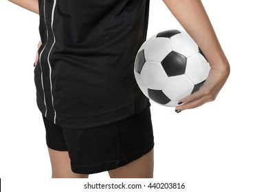 Woman soccer player with soccer ball on white background