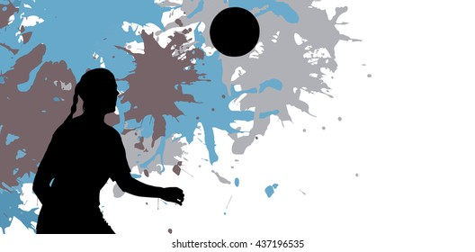 Woman soccer player waiting the ball against different black silhouette
