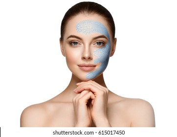 Woman spa mask half-face beauty concept.