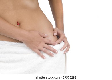 Woman with spa towel around waist