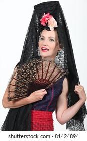 Woman in Spanish Fancy Dress Costume